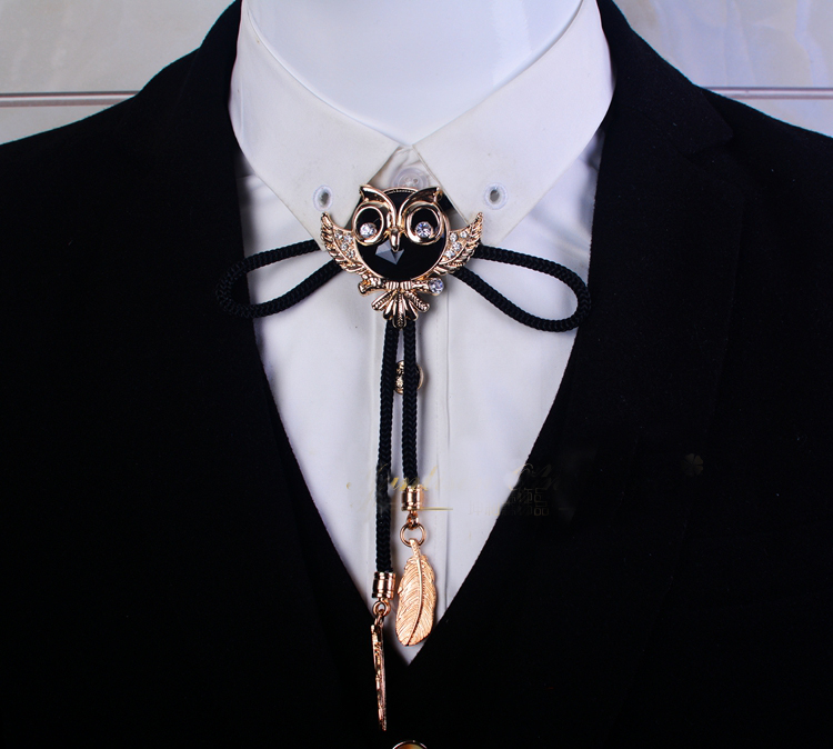 Drop Shipping Collar Rope Vintage Crystal Owl Bolo Tie Men's Gem Bow Tie Golden Letter Necklace Accessories Wedding Necktie