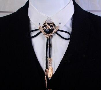 Drop Shipping Collar Rope Vintage Crystal Owl Bolo Tie Men's Gem Bow tie Golden Letter Necklace accessories Wedding Necktie drop shoulder self tie cardigan