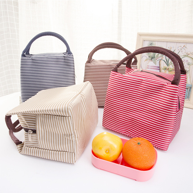 Outdoor Stripe Picnic Bag Lunch Insulated Cooler Box Tote Canvas Thermal Food Beach Bag Zipper For Camping Hiking Women Kids Men