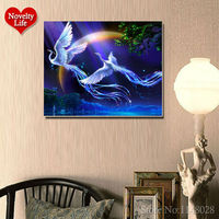 2015 New 5D Diy Round Diamond Painting Animals Bird Lover Phoenix Cross Stitch Rhinestone Crystal Pictures