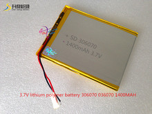 3.7 V 1400 MAH batería de polímero de litio de 306070 036070 GPS de la pantalla manuscrita libros