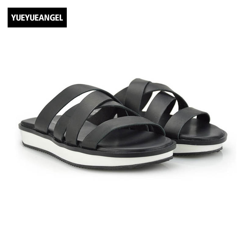 2018 High Quality Brand New Fashion Mens Sandals Slip On Genuine Leather Cow Casual Shoes Male Plus Size  Indoor Flat Slipper slip on men casual shoes male sandal new fashion genuine leather low heel high quality brand korean style thick bottom plus size