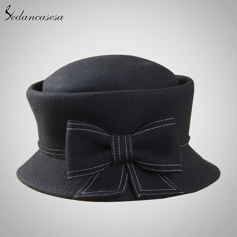 585a49168291f Europe American Sombreros Women 100% Australian Wool Cloche Fedora ...