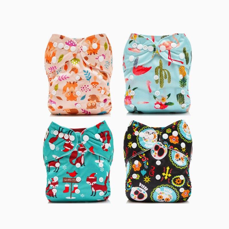 2018 nouveau 4 pièces/ensemble bébé couches lavables bébé réglable pantalons poche à couches réutilisable pour bébé fille et garçon 3-13 kg