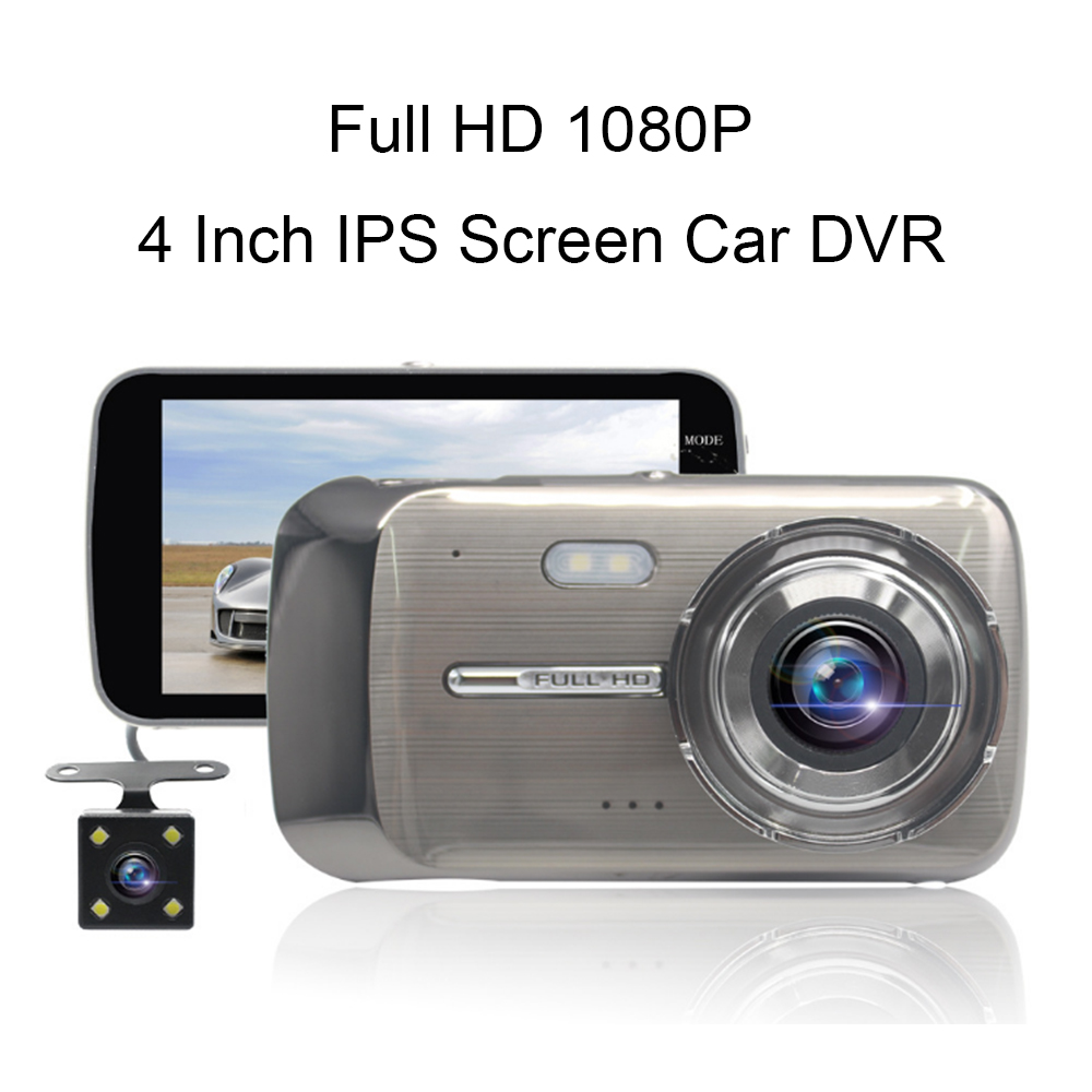 Full HD 1080P Dual Len Dash Cam with Rear Camera G sensor 4 Inch IPS Car DVR Blackbox Portable Video Recorder Cycle Recording цена