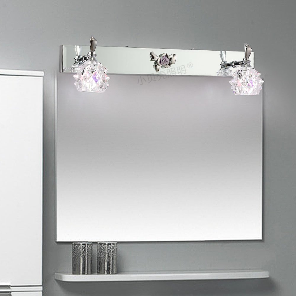 Modern Crystal Washroom Wall Light Chrome Contemporary Crystal Bathroom Mirror Wall Sconces Cheap Wall Lamp Whole Sales luxury modern white acrylic 12w led bathroom wall lamp mirror front fashion wall light showroom washroom wall lamp