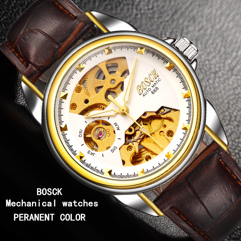 BOSCK8412, costly men's automatic mechanical watches, calendar waterproof watch of wrist of leisure, business fashion watches calendar 2017 a5 calendar handbook of efficiency for industry and commerce business notepad log can be customized logo