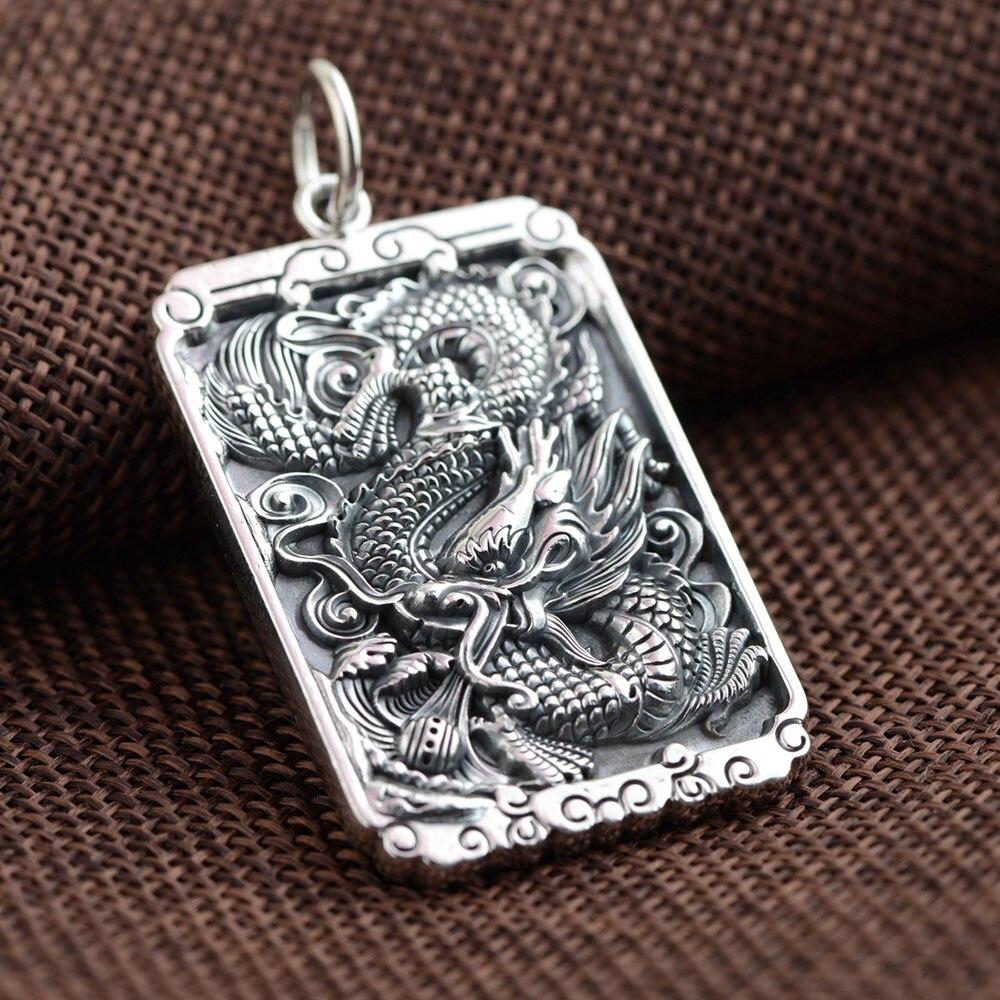 FNJ 925 pendentif carré en argent motif Dragon Vintage 100% pur S925 solide Thai argent pendentifs pour femmes hommes fabrication de bijoux