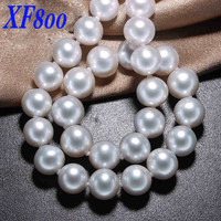 XF800 Max Natural freshwater pearl necklace,10 11mm round shape white pearl Chokers Necklaces 45cm S31
