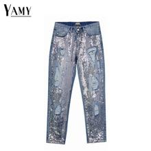 Sequin Jeans Denim Pants Boyfriend Distressed Vintage Sexy Plus-Size Woman Mom Ripped