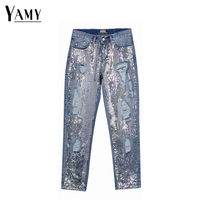 Sequin jeans woman sexy plus size vintage mid waist hole mom boyfriend ripped jeans for women's jeans distressed denim pants