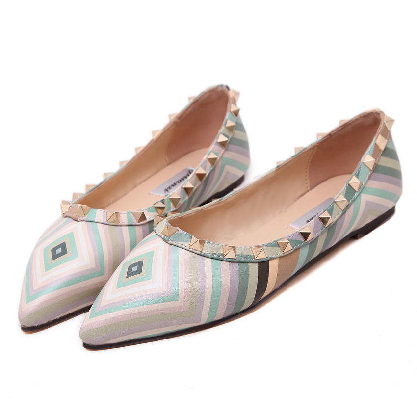 Women Fashion Colorful Stripe Flats Shoes Shallow Mouth Pointed Toe Rivets Zapatos Mujer Female Sweet Candy Color Single Shoes lin king fashion pearl pointed toe women flats shoes new arrive flock casual ladies shoes comfortable shallow mouth single shoes