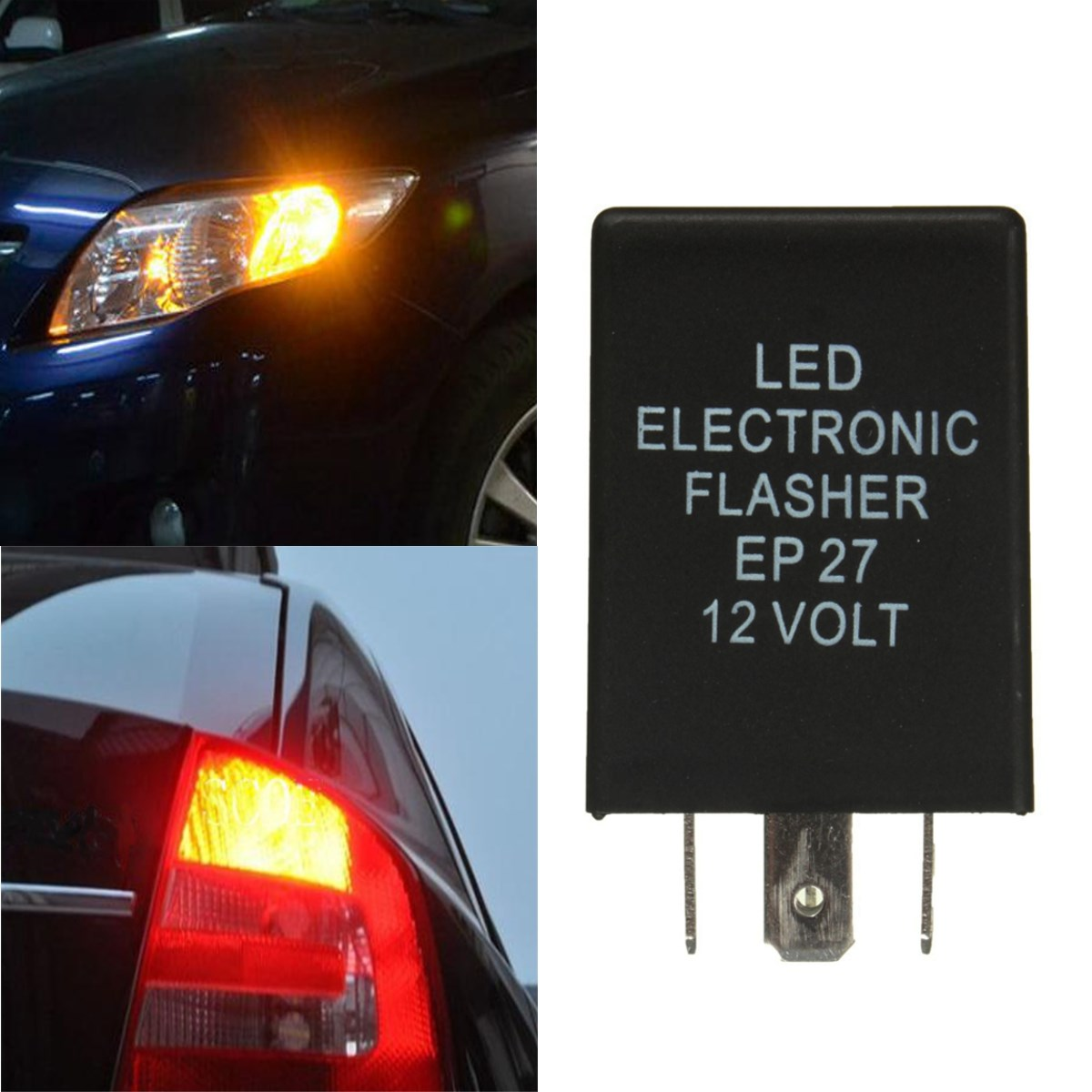 Car 12V 5-PIN EP27 LED Electronic Flasher Relay Turn Signal Decoder Load Equalizer Fix Hyper Flash