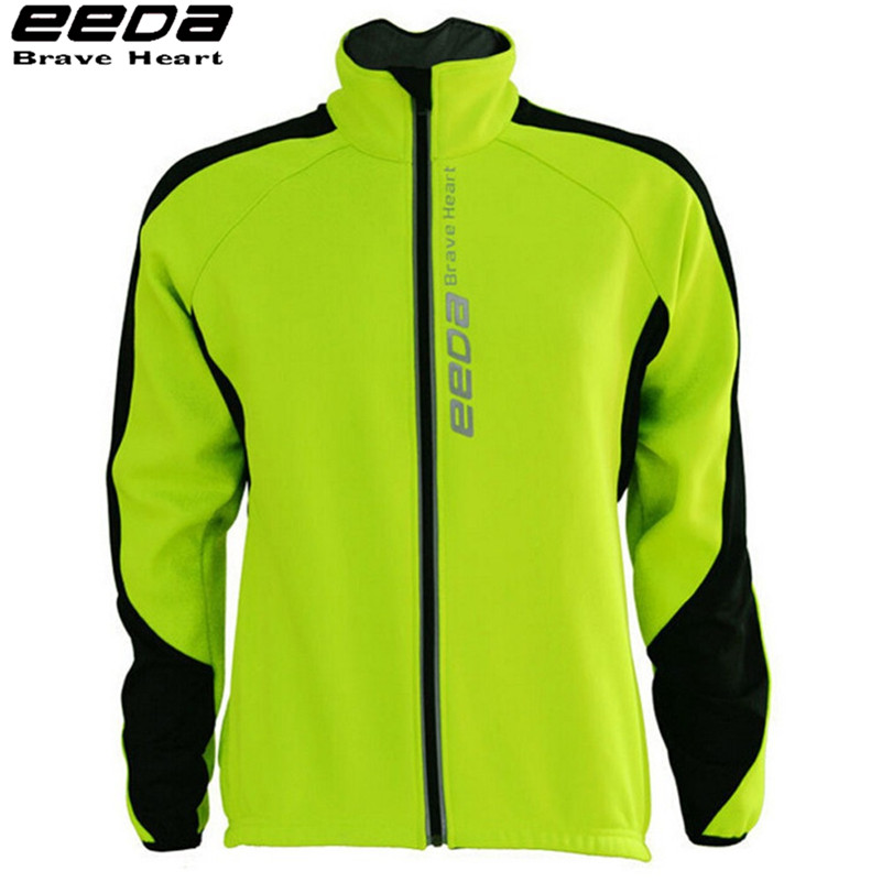 ФОТО EEDA Sports Windproof Reflective Breathable Bike Bicycle Jersey Autumn Winter Fleece Thermal Cycling Wind Coat Jacket for Men