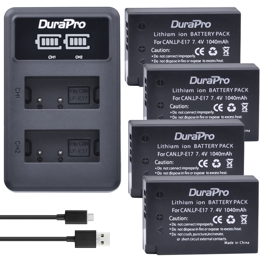 4 Unid para Canon LP-E17 LPE17 LP E17 batería recargable + LED cargador dual para Canon EOS Rebel T6i 750D t6s 760D M3 800D 8000D X8i