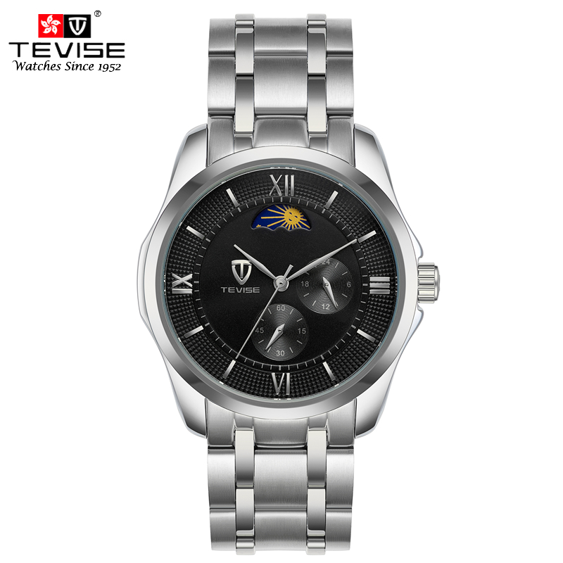 TEVISE Automatic Mechanical Watches Men Self Wind Moon Phase Stainless Steel 24 hours Clock Luminous Wristwatches N9036G tevise men automatic self wind gola stainless steel watches luxury 12 symbolic animals dial mechanical date wristwatches9055g
