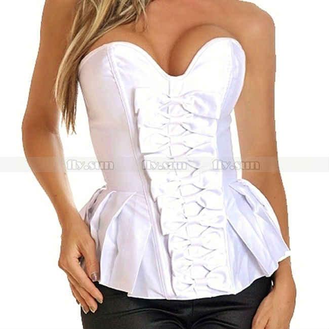 Дамское сексуальное женское белье Белый баска в стиле бурлеск корсет праздничная одежда нарядное платье Размеры s m l xl 2XL