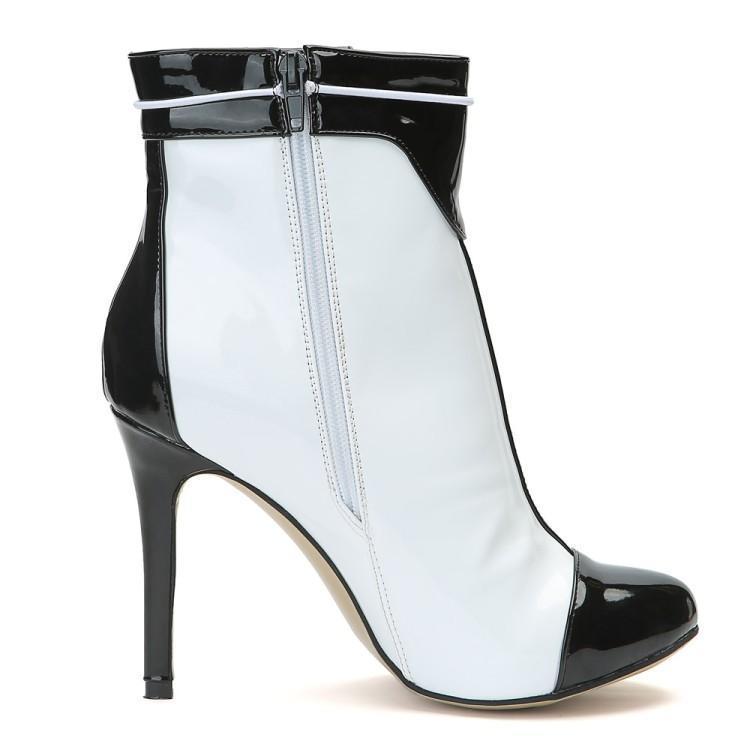 Verni Dames Talons Supérieure À En Gland Rond Chaussons Hauts Couleur Bottes  Chaussures Coudre Noir Mixte Bout Femmes Cuir Pour Blanc Cheville 7XFU6 c949511e9b71