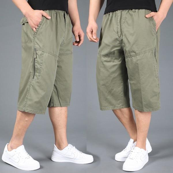Free shipping summer plus size men shorts xxl 4xl 5xl 6xl cotton casual shorts khaki elastic waist short trousers hiphop large