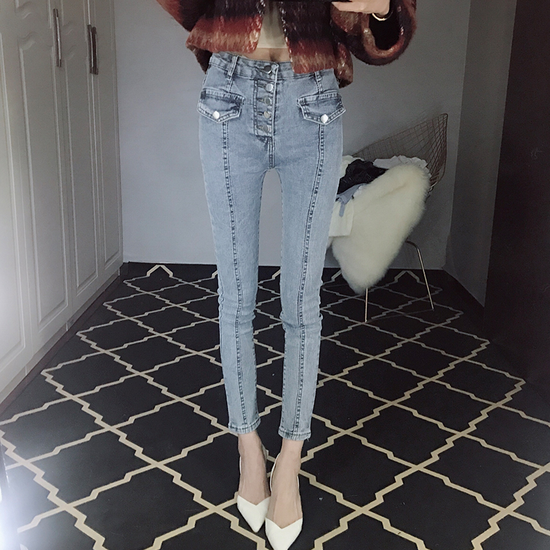 High Waist Flare Pants Ankle Length Zippers Cuffs Pockets  Button Jeans Woman Office Lady Skinny Softener Bleached Washed