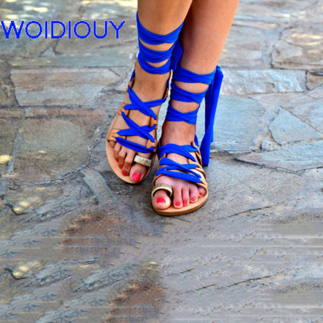 3faa483bdb08 Women Sandals Lace up Royal blue Tie Up Leather Gladiator Sandals Women  Casual Summer Shoes Female Flat Sandals Beach Shoes
