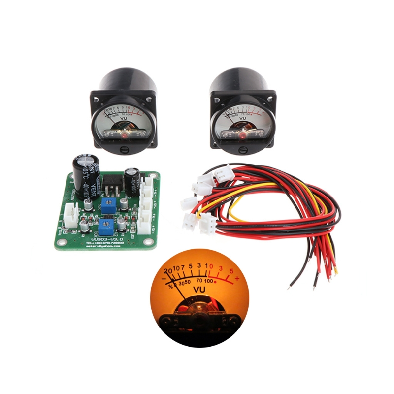 2 Pcs VU Panel Meter Warm Back Light Recording+Durable Driver Board Module+Cables