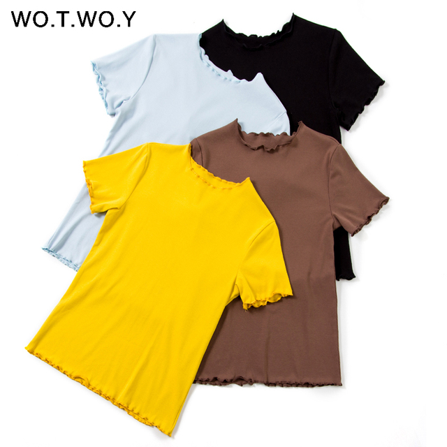 WOTWOY Ruffles Summer T Shirt Women Cotton Casual Solid T-Shirt Women Korean Tops Tee Shirt Femme Slim Black Tshirt Harajuku New T-Shirts
