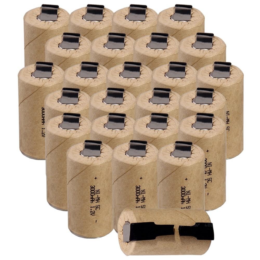 Le plus bas prix 25 pièce SC batterie 1.2 v batteries rechargeable 3000 mah nimh batterie pour outils électriques akkumulator