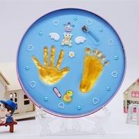 Baby рук и ног печати грязи детские фоторамки сувенир на день рождения ребенка Подарочная коробка с колеса и номер ребенка руки ноги принт
