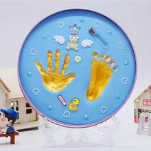 Baby Hand And Foot Print Mud Baby Photo Frame Souvenir Baby's Birthday Gift Box With Wheel And Number Baby Hand Foot print(China)