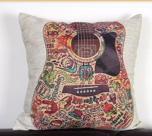 Vintage Funky Guitar Linen Cushion Cover Music Decoraive Throw Pillow Case Natural Rustic Modern Style Retro