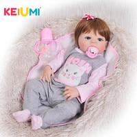 KEIUMI Fashion 23 Inch Reborn Dolls Washable 57 cm Full Silicone Reborn Baby Dolls Girl Realistic Princess Kids Birthday Gifts