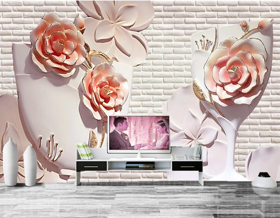 Custom papel de parede,3D flower relief wall mural,hotel restaurant living room sofa TV wall bedroom 3d wall murals wallpaper custom 3d wall murals wallpaper luxury silk diamond home decoration wall art mural painting living room bedroom papel de parede