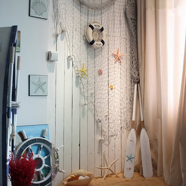 Decorative Nautical Fish Net With Shells Luau Party Wall Decor-in ...