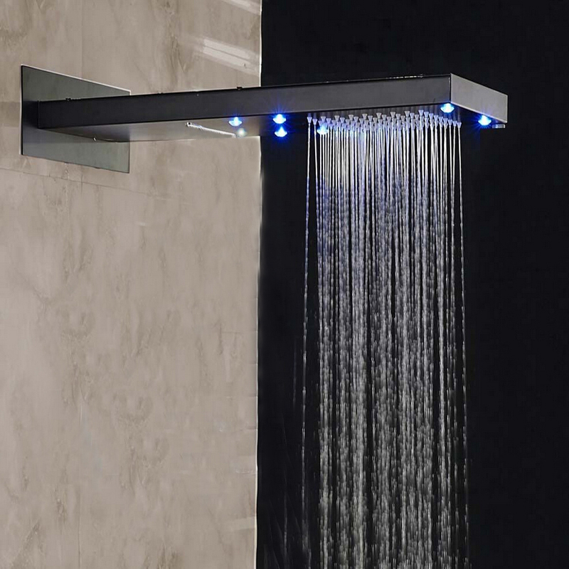 LED Oil Rubbed Bronze Rain Waterfall Shower Head Wall Mounted Over-Head Sprayer luxury led color changing golden brass rain round shower head wall mounted over head sprayer