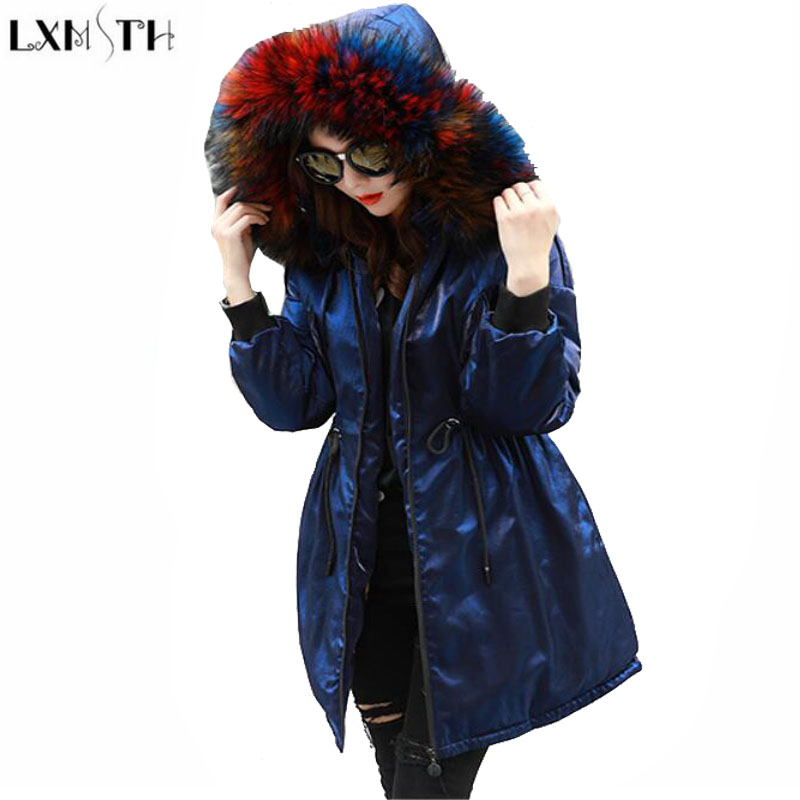 LXMSTH Ladies Velvet Coat New Arrival Women Down Parka Fur Collar Drawstring Hooded Loose Long Cotton-padded jacket 2017 Winter 2016 brand new fashion down jacket women long thicken plus size cotton padded coat big faux fur collar hooded women parka kp0791