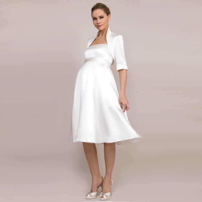 Wedding Dresses For Pregnant Brides: Beach Casual Short Western Wedding Dresses For Pregnant