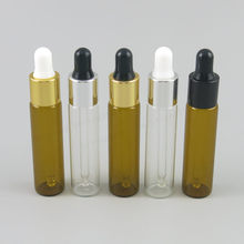 Promotion 5pcs 8ML Eye Dropper Clear Aromatherapy Perfume Essential Oil Piepette Drop Bottles Tool 8cc Amber Glass Liquid Vial