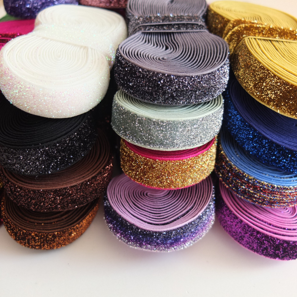 5 Yards Glitter Elastic Bands 5/8'' Sewing Sparkling Elastic Fabric DIY Craft Supplies Garment Accessories Hair Elastic Hair Bow