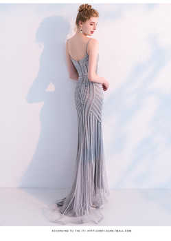 New Fashion Sexy Sweetheart Evening Dress 2019 New Robe De Soiree Vestido De Festa Gray Mermaid Evening Dresses Long Dress Gown