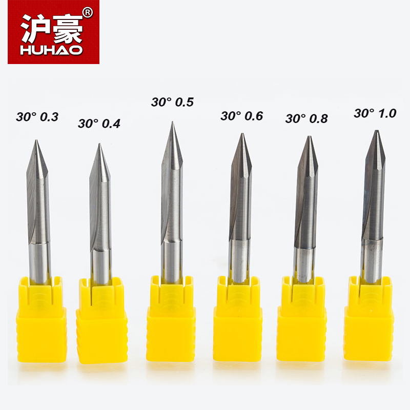 HUHAO 5pcs/lot Shank 6mm 2 Flutes Engraving Bits Deep Cutter CNC Carving V Type Bits Carving Machine Tools 50mm End Mill