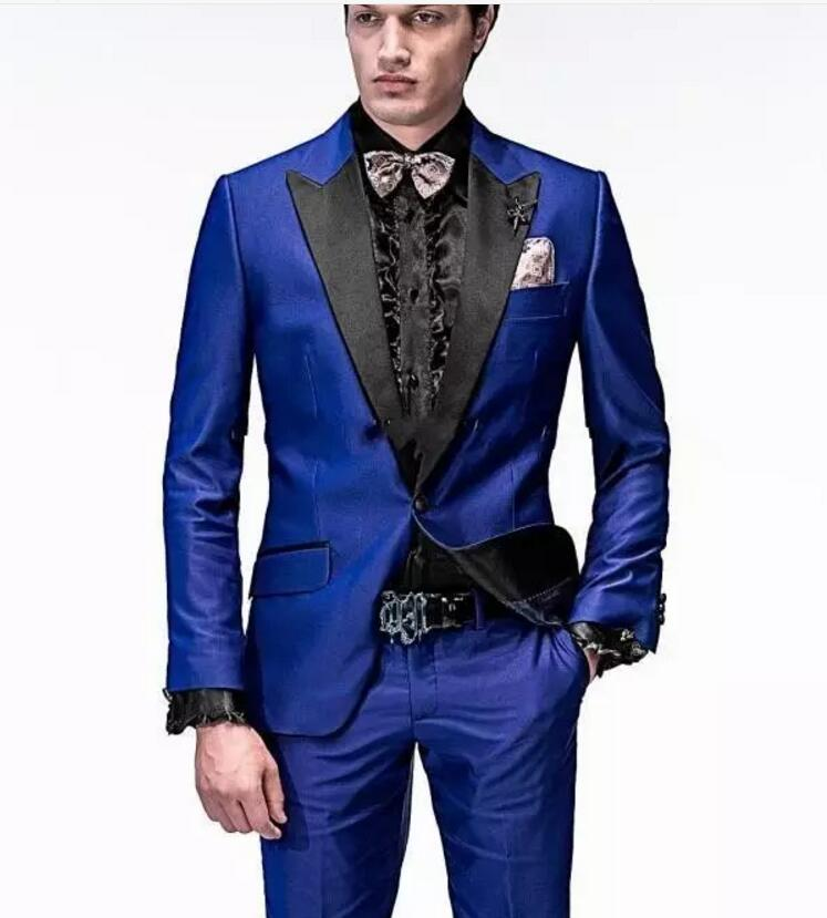 Handsome One Button Royal Blue Groom Tuxedos Peak Lapel Groomsmen Men Wedding Tuxedos Dinner Prom Suits (Jacket+Pants+Girdle+Tie