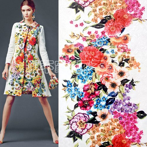 145cmx50cm retro flowers clothing jacquard fabric parent for Childrens dress fabric