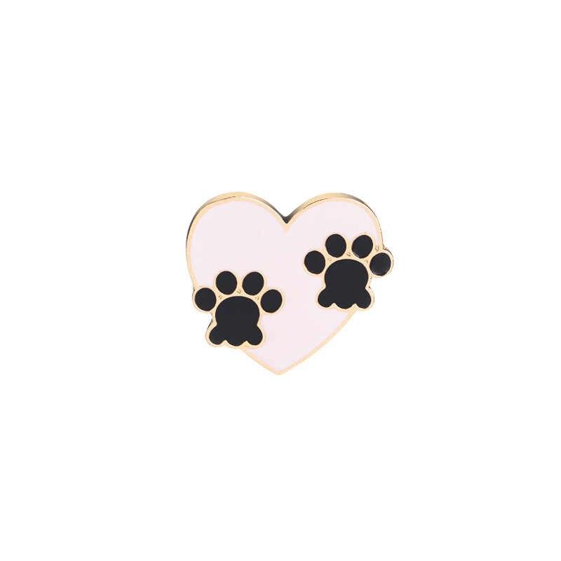Re amor cão garra pino de metal dos desenhos animados broche masculino broches esmalte para feminino saco colar pinos crachá jóias accessorise a1340