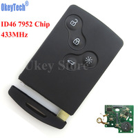 OkeyTech 4 Button Remote Key Smart Card Car Key Fob 433MHZ PCF7952 Chip For Renault Megane