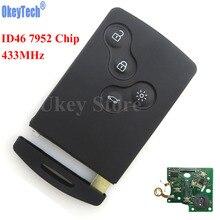 Okeytech 4 кнопки дистанционного ключ смарт-карты Ключи FOB 433 мГц pcf7952 чип для Renault Megane Scenic Лагуна Koleos Clio режиссерский лезвие