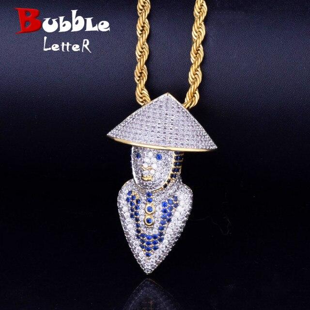 Blue Mortal Kombat character Pendant Necklace Free Tennis Chain Gold Silver  Iced Cubic Zircon Men s Women Hip hop Jewelry aaf48b6da