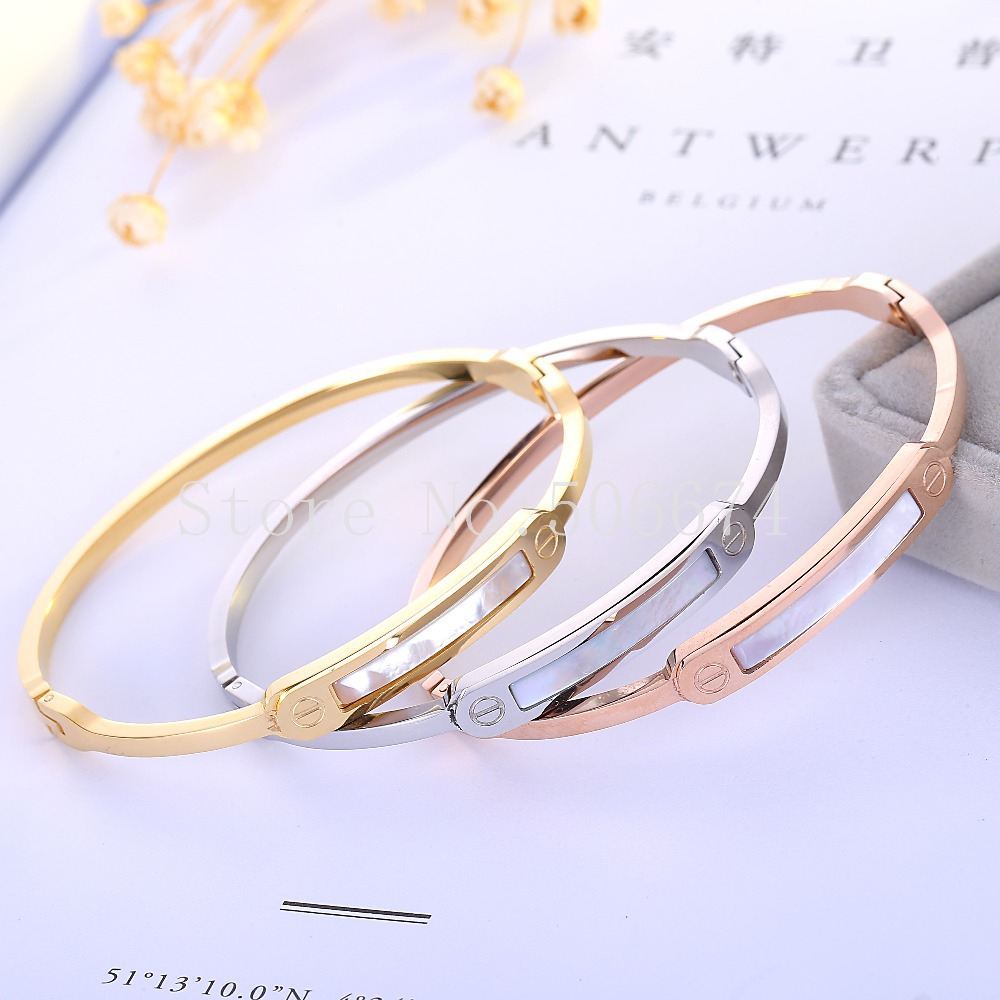 free registered Shell Strip brand Fashion Jewelry Cuff Carter Bracelets Bangles 316L Stainless Steel Bracelets For Women