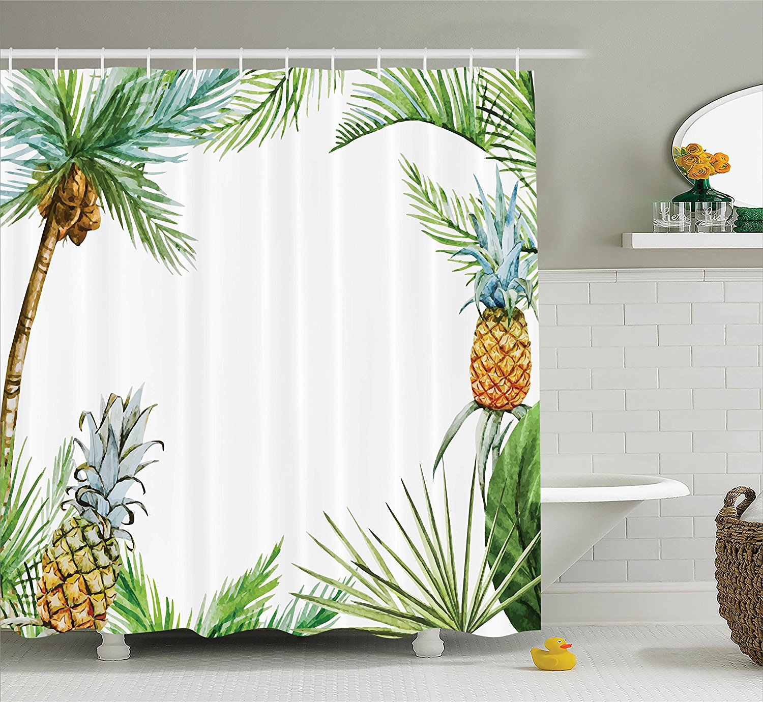 Pineapple Decor Shower Curtain Set Watercolor Tropical Island Style Border Print With Exotic Fruit Palm Trees And Leaves Multi