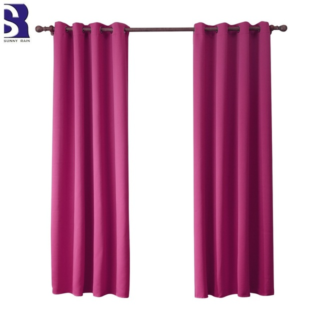 SunnyRain 1 Piece Green Curtain For Living Room Blackout Curtain For ...